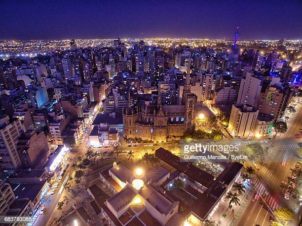 high angle view of illuminated cityscape at night - cordoba argentina fotografías e imágenes de stock