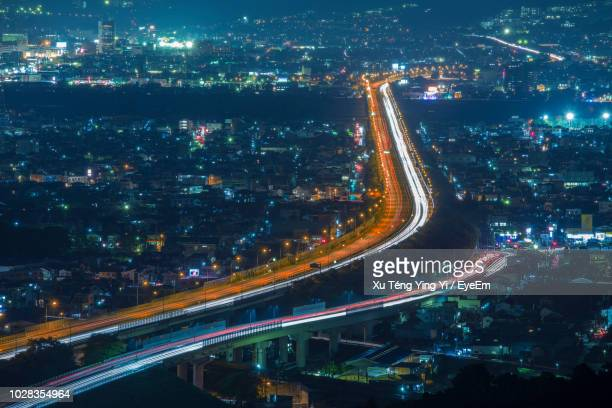 High Angle View Of Illuminated Highway During Night