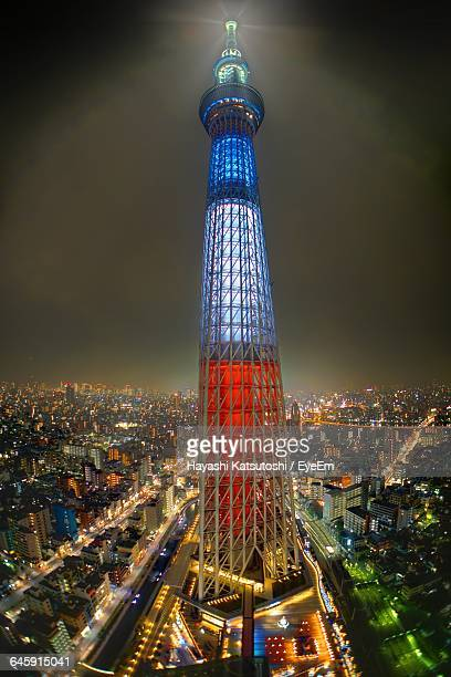High Angle View Of Illuminated Tokyo Sky Tree At Night