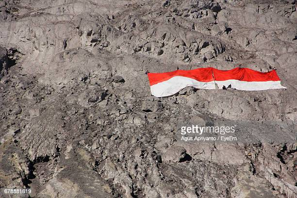 High Angle View Of Indonesian Flag On Mt Merapi