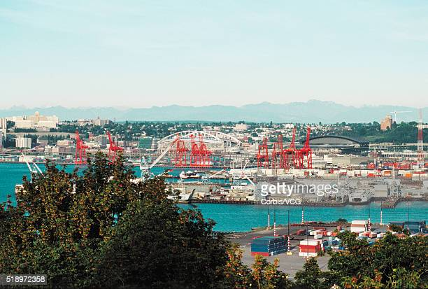 high angle view of industrial harbour - vcg stock pictures, royalty-free photos & images