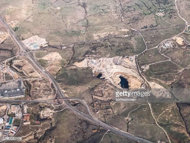 high angle view of industrial site - bortes stockfoto's en -beelden