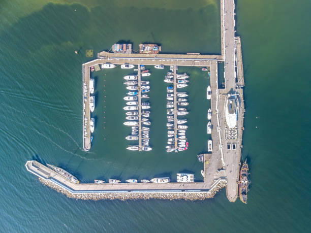High Angle View Of Information Sign By Sea, Aerial View On The Pier In Sopot, Poland,