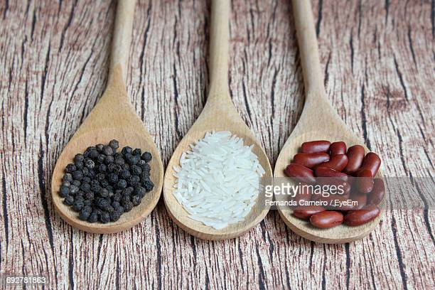 High Angle View Of Ingredients In Wooden Spoons On Table