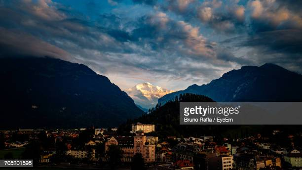 High Angle View Of Interlaken Town Against Jungfrau