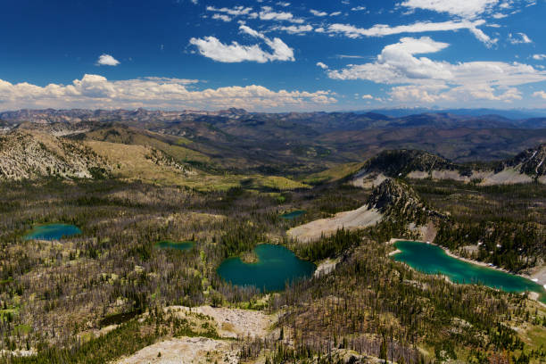 High angle view of Island and Ruffneck Lake in Franch Church Wilderness, central Idaho in summer close to Stanley, along hiking trail to Ruffneck Peak