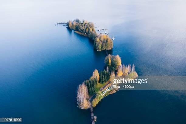 high angle view of island in sea,lahti,finland - lahti finland bildbanksfoton och bilder
