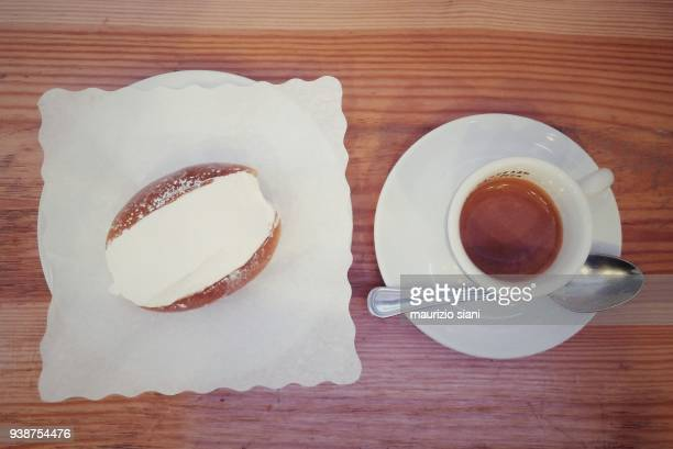 High Angle View Of Italian Breakfast On Table. Coffee With Dessert (Maritozzo)