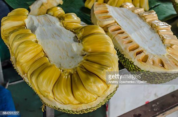 high angle view of jackfruit on table - jackfruit stock photos and pictures
