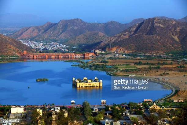 High Angle View Of Jal Mahal In Lake Against Mountain