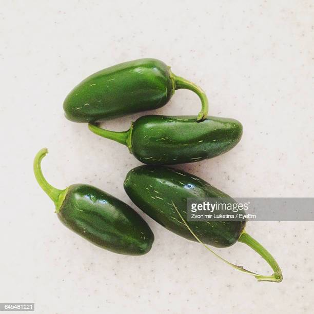 High Angle View Of Jalapeno Peppers