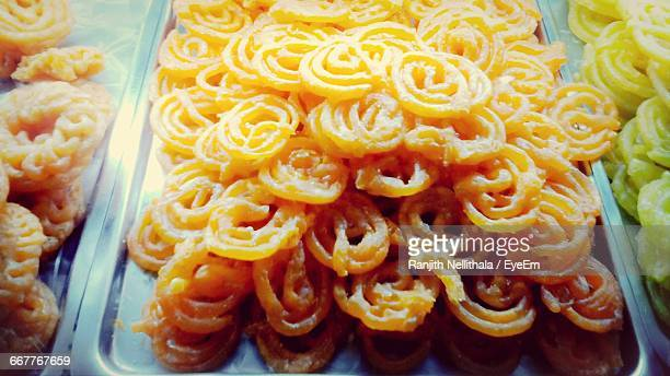High Angle View Of Jalebis For Sale In Market
