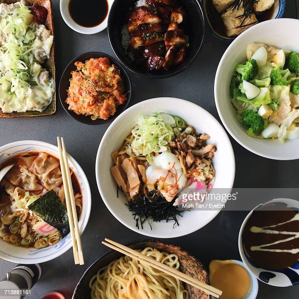 High Angle View Of Japanese Food