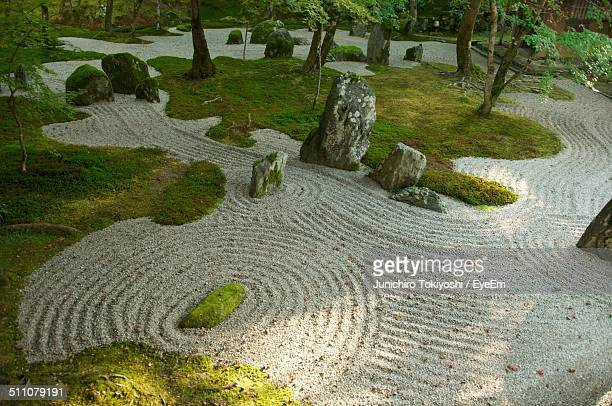 High angle view of Japanese zen garden