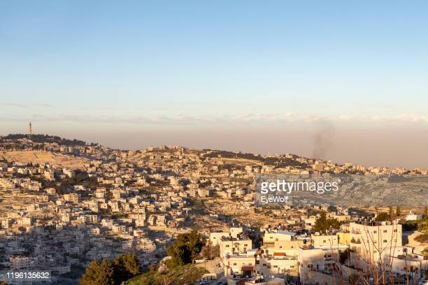 high angle view of jerusalem, israel. - human settlement stock pictures, royalty-free photos & images