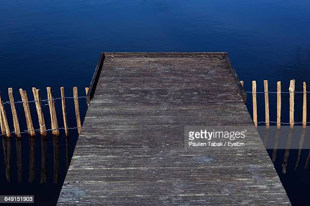High Angle View Of Jetty Over Lake