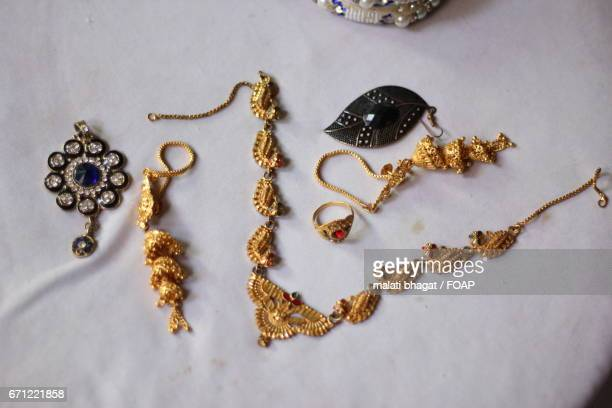 High angle view of jewelleries