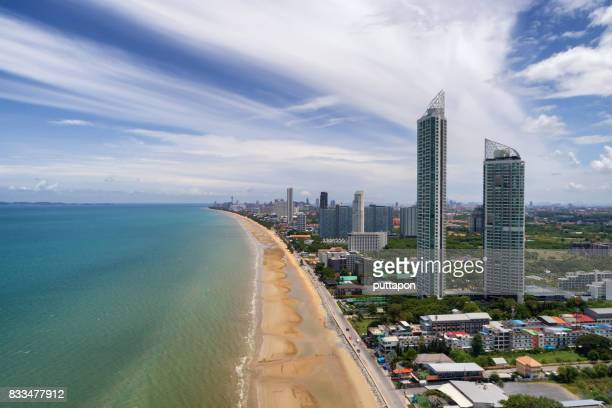High angle view of Jom Tien beach Pattaya. In the summer with the sun. The famous seaside town in Chonburi Province