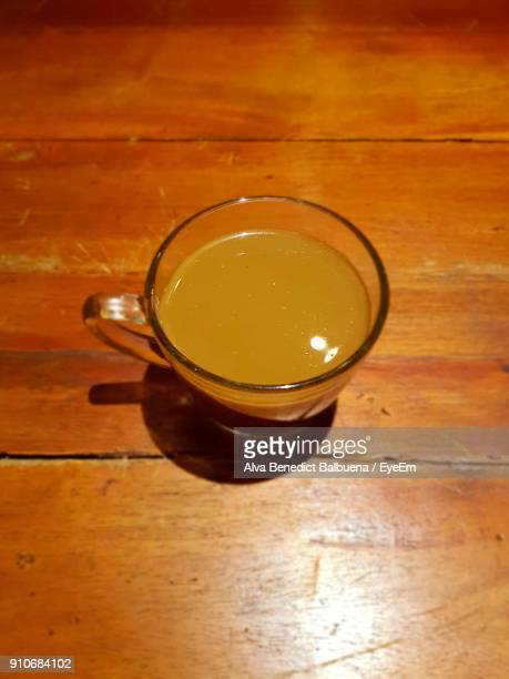 High Angle View Of Juice In Glass On Table