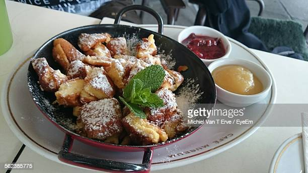 High Angle View Of Kaiserschmarrn In Cooking Pan On Table