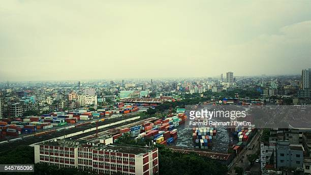 High Angle View Of Kamalapur Railway Station In City Against Clear Sky