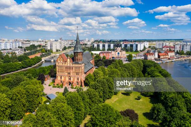 high angle view of kant's cathedral, kant island, kaliningrad, russia - kaliningrad stock pictures, royalty-free photos & images