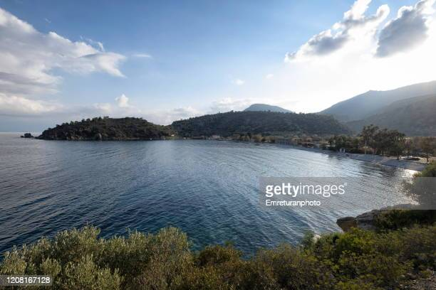 high angle view of kargı beach on a sunny day in datca peninsula,mugla province. - emreturanphoto stock pictures, royalty-free photos & images