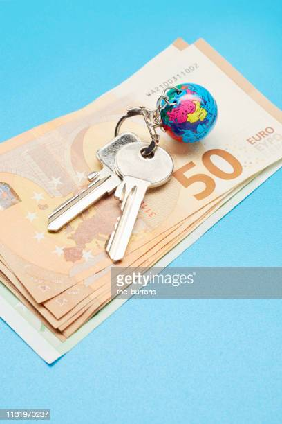 High angle view of keyring with a small globe and Euro banknotes on colored background