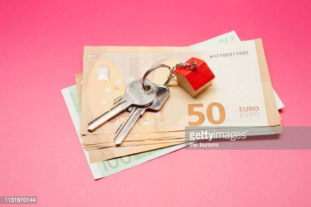 High angle view of keyring with a small house and Euro banknotes on colored background