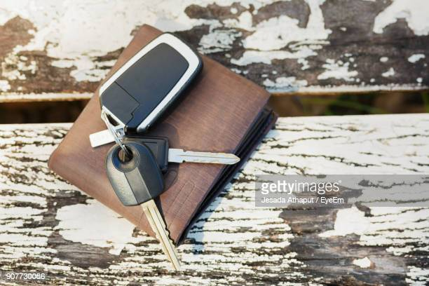High Angle View Of Keys And Wallet On Wooden Table