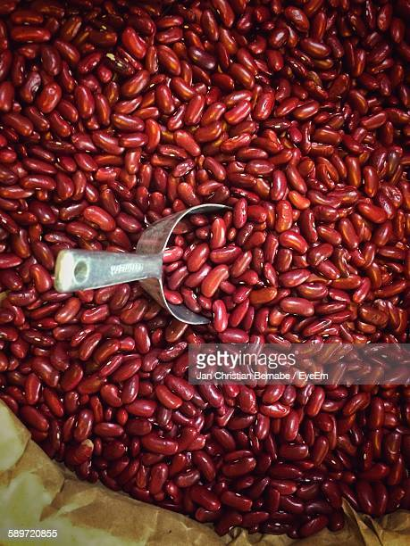 High Angle View Of Kidney Beans In Container