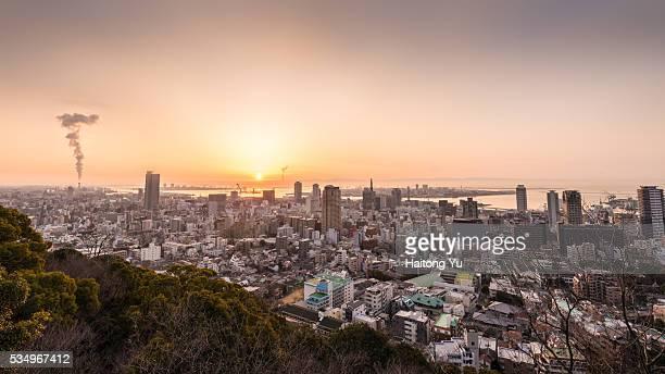 high angle view of kobe, japan during morning twilight - 兵庫県 ストックフォトと画像