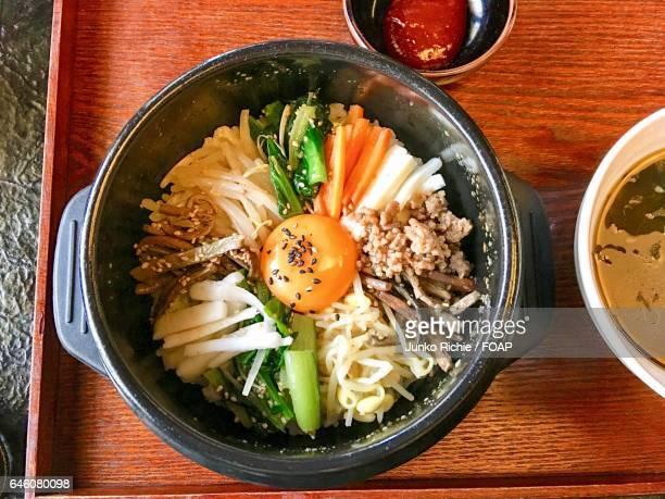 High angle view of Korean food