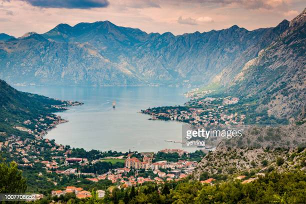high angle view of kotor bay - montenegro imagens e fotografias de stock
