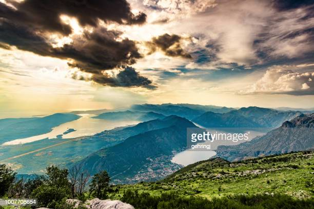high angle view of kotor bay - kotor bay stock pictures, royalty-free photos & images