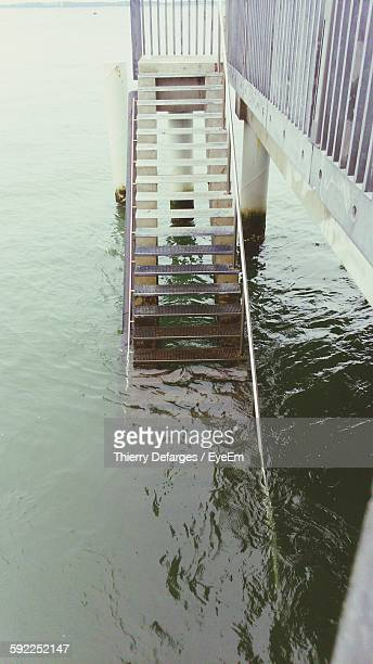 High Angle View Of Ladder In River