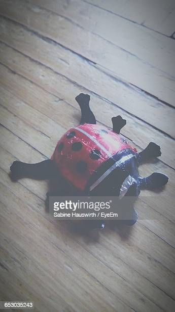High Angle View Of Ladybug Toy On Hardwood Floor