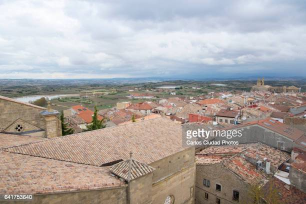 High angle view of Laguardia Old Town, Basque Country, Spain