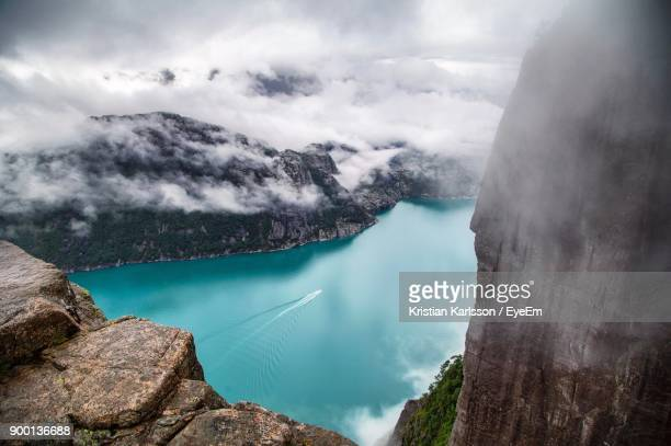 High Angle View Of Lake Against Cloudy Sky