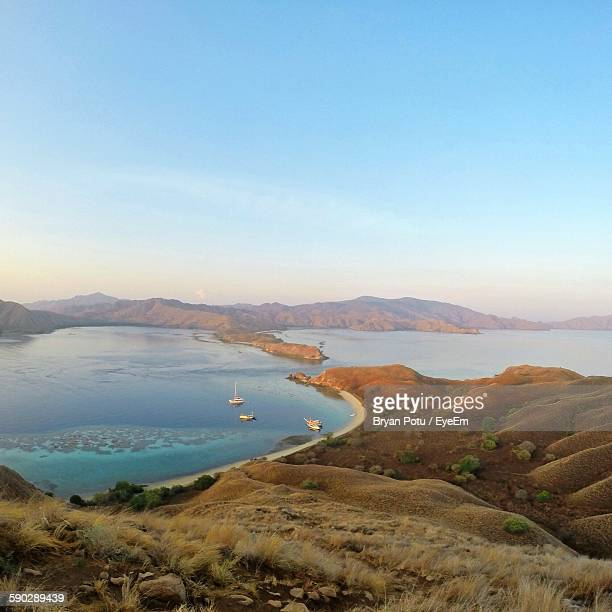 high angle view of lake against sky at komodo national park - komodo fotografías e imágenes de stock