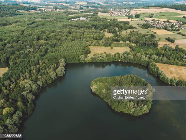 High Angle View Of Lake Amidst Trees