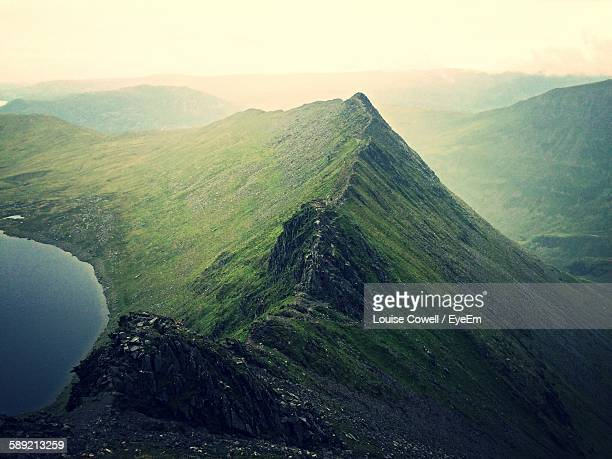 High Angle View Of Lake By Mountain