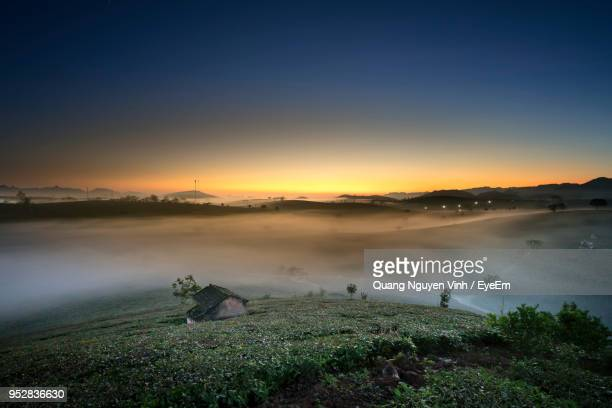 high angle view of land against sky during sunset - son la stock pictures, royalty-free photos & images