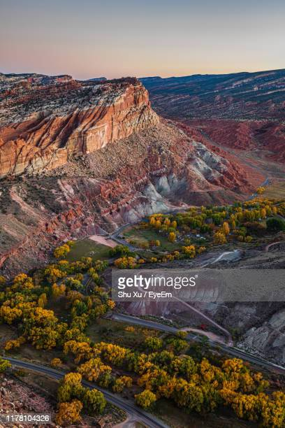 high angle view of land against sky - capitol reef national park stock pictures, royalty-free photos & images