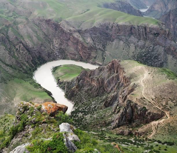 High angle view of land and mountains,Aksu,Xinjiang,China