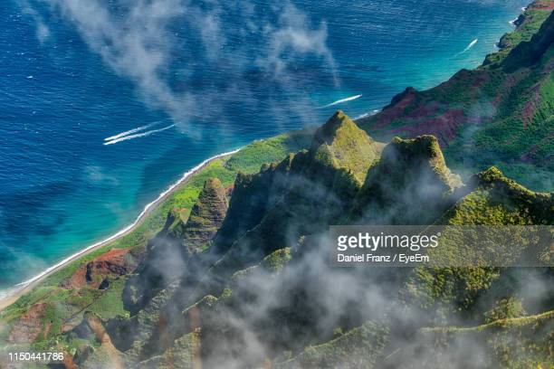 high angle view of land and sea - hawaii islands stock pictures, royalty-free photos & images
