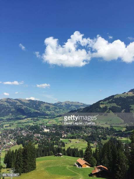 high angle view of landscape against clear sky - gstaad stock pictures, royalty-free photos & images