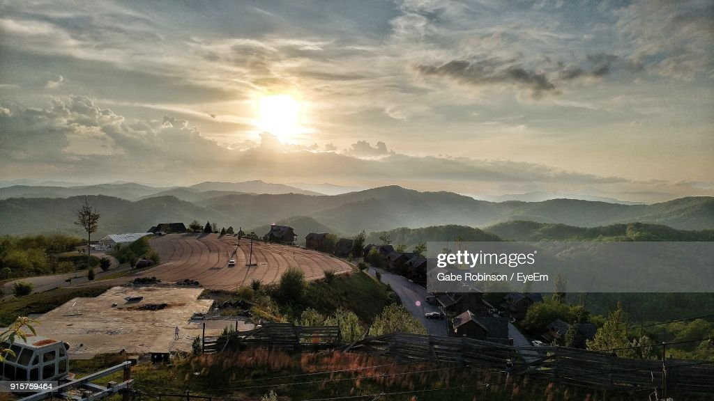 High Angle View Of Landscape Against Sky During Sunset : Stock Photo