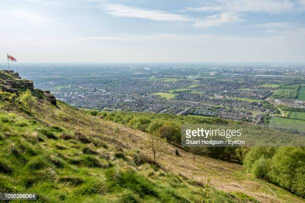 high angle view of landscape against sky - middlesbrough stock pictures, royalty-free photos & images