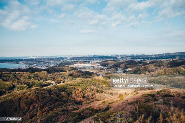 high angle view of landscape against sky - koukichi stock pictures, royalty-free photos & images